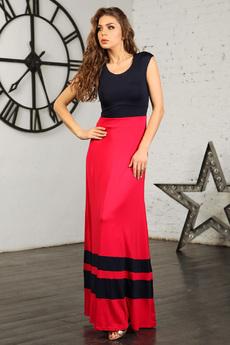 Длинное черно-красное платье Mondigo