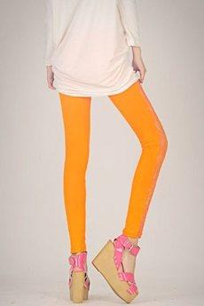 Оранжевые легинсы с кружевом Kokette