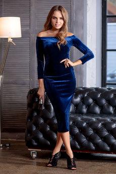Синее бархатное платье RUXARA