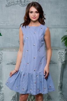 Платье в полоску с вышивкой Look Russian